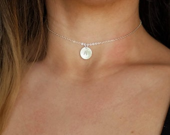Silver/gold hand stamped initial charm choker necklace