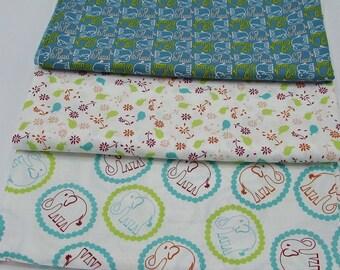 Cotton  3 yards fabric from Free Spirit Valorie Wells Bridgette Lane, elephant prints fabric bundle, crafts, quilting, birds flowers