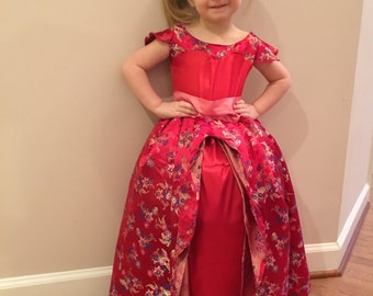 Elena of Avalor Floral Red Gown, Dress, Costume for Toddler, Kids, Girls, or Adult Women