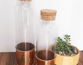 Vintage Copper with Brass Plate Glass Canisters