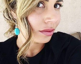 Turquoise Earrings, Beaded Earrings, Southwestern Earrings, Gifts for Her, Handmade Boho Earrings, Peruvian Opals, Drop Earrings, New Mexico