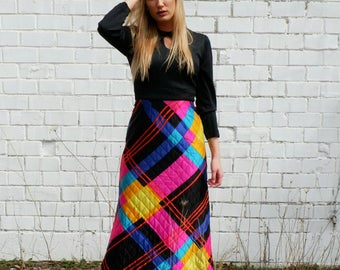 Bold Long Dress with Colorful Quilted Bottom