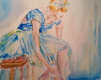 Original ballerina watercolor painting,ballet watercolor,ballerina painting,blue ballerina,dance art,ballet art,ballet watercolor,ballerina