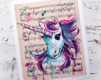 "Unicorn gift unicorn art unicorn print, unicorn accessories, sheet music art teen girl shabby chic decor 8x10"" gifts for her gifts for teens"