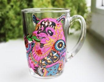Panda bear Mug Panda coffee mug for children Hand Painted mugs panda glass mug Funny mug colorful mug Gift for her custom mug