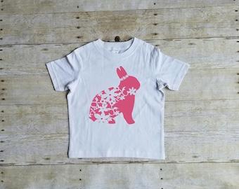 Floral Bunny Shirt, Cute Spring Shirt, Toddler Easter Bunny Shirt, Bunny Shirt, Easter Shirt
