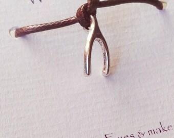 A Wish bracelet with Wish Bone charm - Friendship