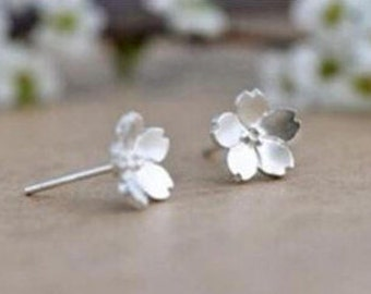 Frosted Sterling Silver Flower Minimalist Earrings | Simple Dainty Minimal Earrings Flower Earrings Sterling Silver Stud Earrings Womens