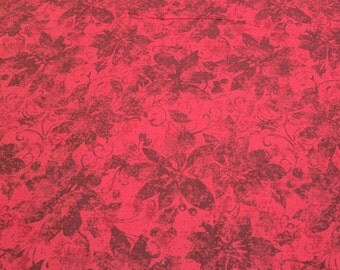 Red on Red Poinsettia Cotton Fabric
