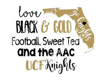 UCF, Love Black & Gold SVG, EPS, Dxf, Png File, for Silhouette, Cricut, Vectors, University of Central Florida, Football, Aac, Knights