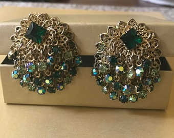 Beautiful Vintage Green and Gold Clip Earrings, Emerald Green, Gold Tone, AB Rhinestones