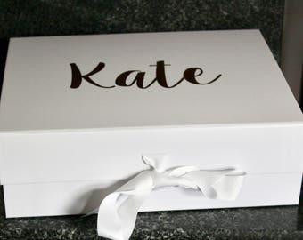 Luxury A4 size gift box with ribbon, Bridesmaid box, Brides box, Gift box, Birthday box, New baby box, Baby shower box, Keepsake box, Memory