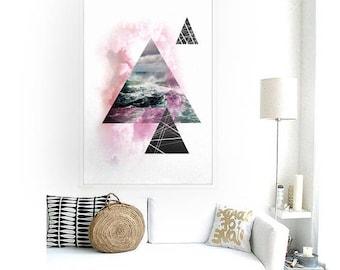 Triangles, Geometric, Minimal, Landscape, Smoke, Art, Nature art, Print, Illustracion, Modern, Simple, Fashionable poster #7P