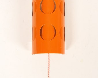 Retro Orange wall light with pull cord-Vintage lighting-Lamp