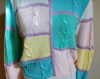 Totally 80's Pastel Sweater - Women's Size Medium