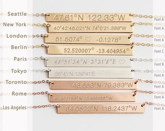 Custom Coordinates Necklace reversible, Latitude Longitude necklace, Location GPS Coordinates, Gold Filled, Silver, Rose Gold fill  B440h