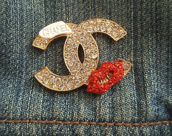 Chanel inspired enamel and rhinestone lapel pin shirt collar pins collar pins fashion pin flair pin button back pin
