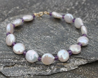 Pearl and Amethyst June and February Bracelet, Pearl Jewelry, Amethyst Jewelry, February Birthstone Bracelet, Purple Bracelet
