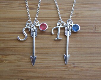 Set of Two, Arrow Necklace, Personalized Necklace, Birthstone Necklace, Initial Necklace, Mother Daughter Necklace, Sterling Silver Gift