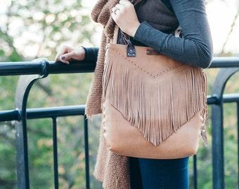 Leather tote, boho fringe bag, brown leather fringe bag, fringe bag in brown, fringe bag, leather bag, leather purse, tote bag