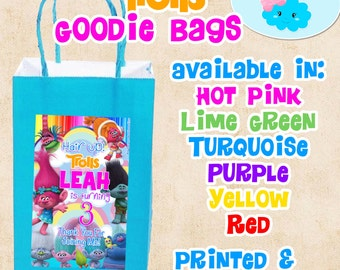 Trolls Goodie Bags, Trolls Candy Bags, Trolls Party Favor Bags
