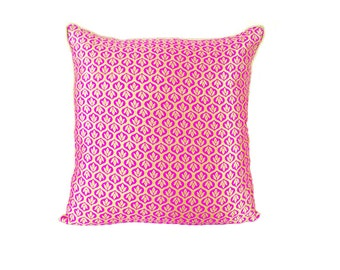 Pink Pillow Cover / Pink and gold pillow/ pink throw pillow/ pink accent pillow/ decorative pillows/ handmade pillow / 20 X 20 pillow cover