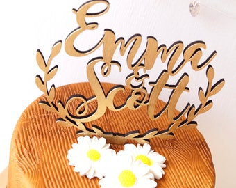 Personalized wedding cake topper, rustic wedding cake topper, wooden cake topper, names cake topper, leaf border topper, your wood choice