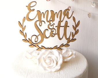 Wedding cake topper, personalized cake topper, rustic wooden cake topper, names cake topper, leaf vorder topper, your choice of wood