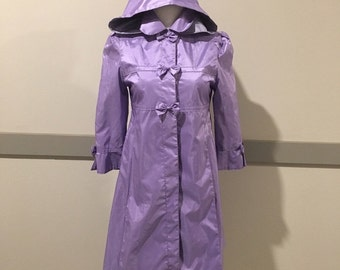 Adorable Vintage Purple Raincoat Trench with Hood