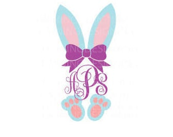 bunny monogram easter bunny name bunny Easter SVG PNG DXF digital file