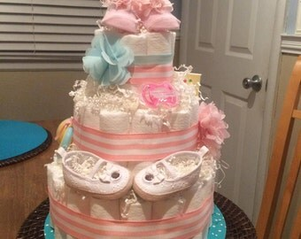 Preppy girl diaper cake