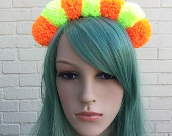 Rave Headband, Orange and Yellow, Glow Accessory, Festival Headband, Festival Crown, Pom Pom Headband, Pom Pom Crown, Festival Pom Poms