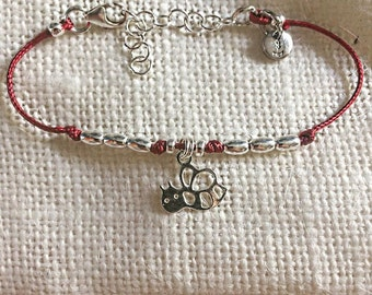 """Burgundy cord bracelet with oval beads and silver nuggets """"Ape"""" charm 925"""