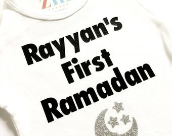 My first Ramadan bodysuit, Ramadan Kareem, Happy Ramadan, Eid Mubarak, Happy Eid, baby girl boy gift, Eidi, moon stars, Muslim Islamic, cute