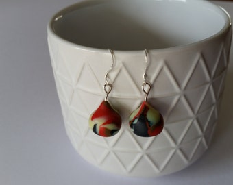 Drop earrings, polymer clay in black, lemon yellow and orange on sterling silver hooks, hypoallergenic
