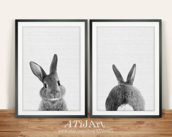 rabbit print set, baby animal print, bunny, Woodlands Nursery Art, butt print, black and white, printable , nursery woodlands bunny print