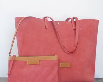 Tote Bag, Pink Suede, Leather, Shopping Bag, Clutch, Handmade Bag