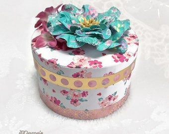 "Vintage Pink and Orange Watercolour Paper Mache Jewelry Box, 3.5"" x 2"", Handmade, Gold Dots, Teal, Burgundy, Flowers, Cute, Round, Tiny"