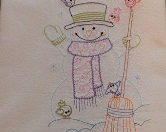 Flour sack towel snowman with birds