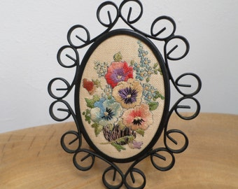 Pretty Vintage Embroidery Picture in Oval Metal Frame - Pansy and Forget-Me-Not Flower Bouquet