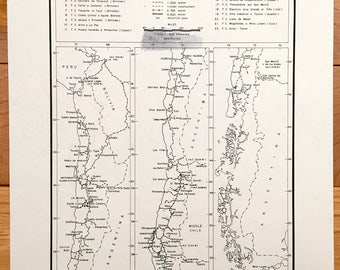 Antique Railways of Chile 1942 Board of Economic Warfare Map –South America, Peru, Bolivia, Argentina, US Department of Commerce Map