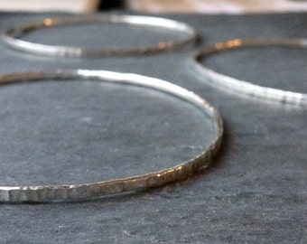 Cambium sterling silver hammered bangle
