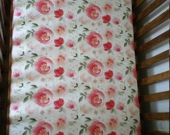 Crib sheets. Minky crib sheets. Cotton crib sheets.Floral nursery.Floral crib sheets. Custom crib sheets.Baby girl nursery.fitted crib sheet