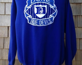 Vintage 90s DUKE BLUE DEVILS Sweatshirt - Large - University - Embroidered