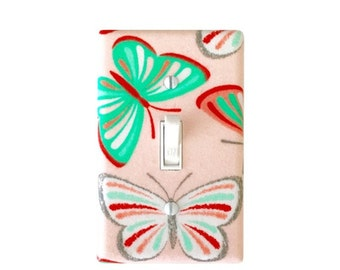 Coral Butterfly Light Switch Plate- Butterfly light switch cover- Nursery Switchplate-Girl Butterfly  Room- Nursery Decor