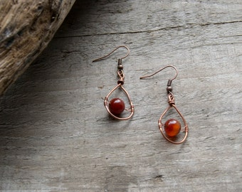 Earrings beads of agate