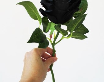 5 Silk Black Roses Rose Bouquet Artificial Silk Flowers Green Leaves Black Blossoms Flower Wedding Bouquets Decoration Decor Spring