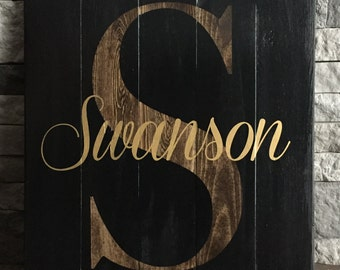 Inverted Personalized Family Name Wooden Sign