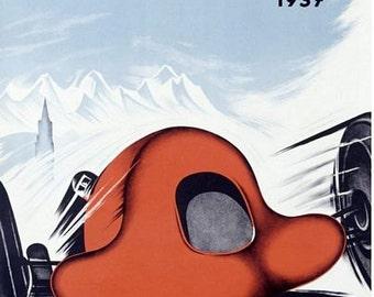 Vintage 1937 Swiss Grand Prix Motor Racing Poster A3 Print