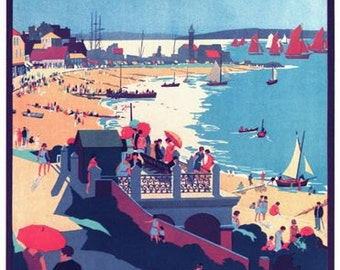 Vintage Southern Railways Whitstable and Tankerton Railway Poster A3/A2/A1 Print